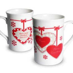 Personalised Christmas Hearts Mug  from Personalised Gifts Shop - ONLY £9.95