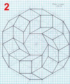 Created by Fred Learn Graph Paper Drawings, Graph Paper Art, Easy Drawings, Blackwork Patterns, Quilt Patterns, Geometric Designs, Geometric Art, Draw A Hexagon, Barn Quilt Designs