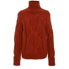 Sally LaPointe Rust Cashmere Cableknit Turtleneck Sweater ($1,250) ❤ liked on Polyvore featuring tops, sweaters, cable-knit sweater, red sweater, red turtleneck, cable knit pullover sweater and red turtleneck sweater