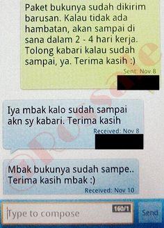 SMS konfirmasi bahwa barang telah sampai ke tangan pembeli.