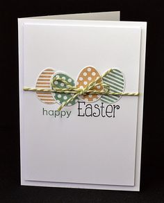 Nontraditional colors look cool on this DIY Easter card.  Dotted and striped eggs are simply tied with neutral baker's twine. Clearly Besotted eggs and sentiment.