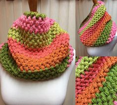 Crochet Cowl, Puff Stitch Cowl, Pink and Green Cowl, Striped Cowl, Multi Color Cowl, Gifts for Her, Circle Scarf, Crocheted Cowl by CozyNCuteCrochet on Etsy