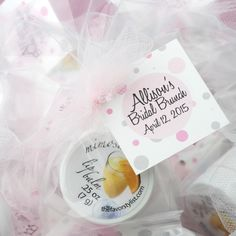 Bridal brunches with mimosas? Yes, please! Mimosa lip balm with personalized tags for bridal shower favors. Choose from dozens of tulle colors, too.