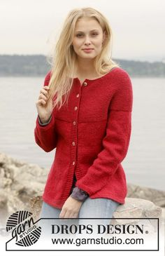 Knitted DROPS jacket with round yoke in garter st in Nepal. Size: S - XXXL.