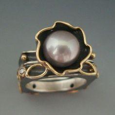Ring   Anne Marie Cianciolo. Oxidized sterling silver, 18k gold, diamond, pearl