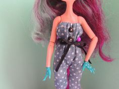 Denim jumpsuit and pin-up headband for Monster High, Ever After High. by Dress4bjd on Etsy