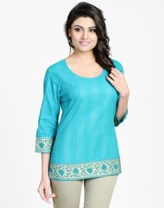 Cotton Mangalgiri Plain Pintuck Roundneck Short Kurta