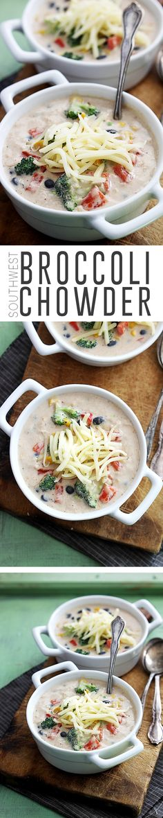 Cheesy broccoli veggie soup with yummy southwest flavors. Easy to make in less than 30 minutes and perfect for chilly weather.