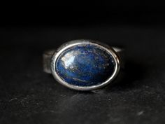oval lapis lazuli sterling silver ring size 6