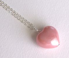 Pink glitter heart polymer clay bead necklace by JonelleJames, $12.00