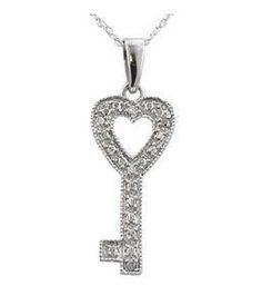 """Sterling Silver Diamond Key Pendant & 18"""" Sterling Silver .925 Chain + FREE Shipping!"""