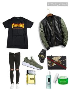 Ready? by ivanaldao on Polyvore featuring polyvore, Represent, NIKE, Gucci, Moschino, Peter Thomas Roth, Clinique, men's fashion, menswear and clothing