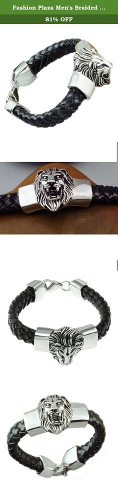 Fashion Plaza Men's Braided Leather Bracelet with Stainless Steel Lion 8.2 Inches, Silver and Black TB27. Enhance your personal style with this men's stainless-steel unique bracelet. The leather and stainless steel design of this classic bracelet will make an elegant and masculine statement with both your casual and dressy wardrobe.The clasp secures your bracelet. Why Choose Stainless Steel Jewelry? Stainless steel does not rust or stain with water as ordinary steel does. And it's one of…