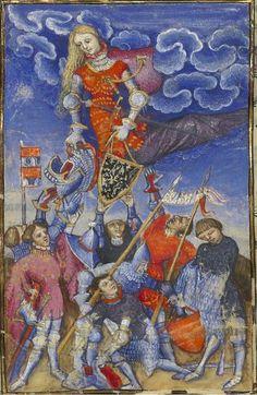 Bibliothèque nationale de France, Français 606, f. 8v (Minerva distributing arms). Christine de Pizan, Épître d'Othéa. Paris, c.1406.