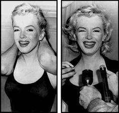 """21 Juin 1956 / (Part II) Marilyn sans maquillage se fait coincer au petit matin à l'entrée de son appartement de """"Sutton Place"""" par une horde de journalistes, désirant l'interviewer sur le bruit qui court du mariage imminent avec MILLER ; c'est en fin de journée qu'une conférence de presse sera organisé dans le hall de l'immeuble."""