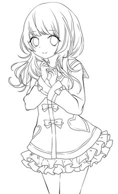 Cute anime girl lineart by chifuyu-san on DeviantArt