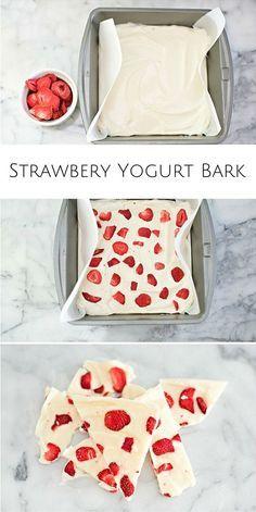 Easy strawberry yogurt bark. A refreshing twist on eating yogurt and yummy snack for the kids!