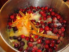1/4 cup orange juice 3/4 cup water 1 cup sugar 12-oz bag fresh or frozen cranberries (3 cups) freshly grated orange zest 1 cinnamon stick (optional