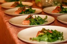 Chilled salmon with simple tossed arugula salad. The mad platter kitchen pop up dinner events
