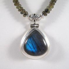 Labradorite pendant necklace by nansaidh on Etsy