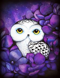 Snowy Owl - NEW Painting Print by Annya Kai - Nature Watercolor Bird Art Night Purple Flowers Watercolor Print, Watercolor Flowers, Watercolor Paintings, Painting Art, Owl Bird, Bird Art, Purple Owl, Purple Flowers, Flowers Nature