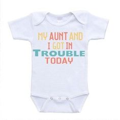 Amazon.com : My Aunt and I Got In Trouble Today I Love My Auntie Onesie Baby Bodysuit Rompers One Piece Online Clothing Shopping (newborn(0-3 Months)) : Baby