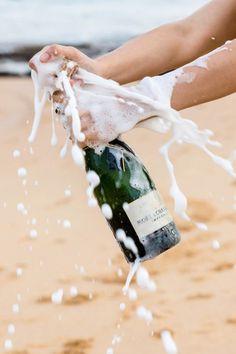 Bubbly on the beach.