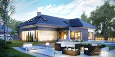 Find home projects from professionals for ideas & inspiration. Projekt domu HomeKONCEPT 14 by HomeKONCEPT Flat Roof Design, Gable Roof Design, Bungalow Conversion, Outdoor Living Areas, Architecture Plan, Exterior Design, Home Projects, Beautiful Homes, House Plans