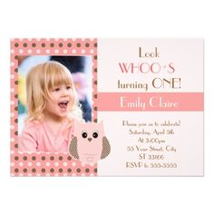 Look Whos Owl Birthday Baby Shower Invitation Pink