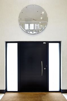 Numero E80 Pivot doorset in a Black RAL finish with 2 side lites REF:Painted Numero-07