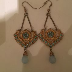 Blue and gold teardrop chandelier earring Don't miss out on these great earrings! Gold and blue chandelier with teardrop! Jewelry Earrings