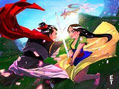 A series by Elijah Tukes (elitukesart on Instagram) called Disneys Lovers Clash! This is Mulan VS. Shang!