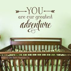 This You are our greatest adventure features the quote with arrows so that your greatest adventure will fit perfectly with a modern tribal nursery decor or childs bedroom.  Comes pre-spaced to go up on your wall without the mess of paint! Tell us your color choice in the message to seller section of the check out form. IF NO COLOR IS CHOSEN it will be sent in BROWN (as shown in photo)  Need it larger? Convo us! For those of you who have textured walls or love the value of reusing vintage…