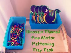A Dinosaur Themed Fine Motor Patterning Tray Task from Creative Learning Fun