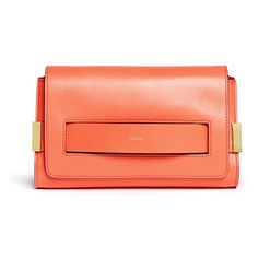Chloe Elle Medium Clutch in Coral Leather (1,125 CAD) ❤ liked on Polyvore