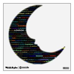 London Text Design I Wall Decal Man On The Moon