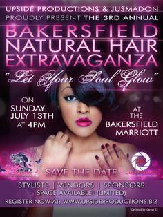 Flyer Design: Bakersfield Natural Hair Extravaganza - www.corner10.com