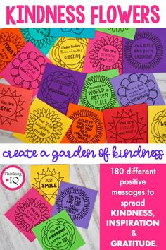 Garden of Kindness is a kindness Activity designed to spread kindness, inspiration, gratitude and positive message throughout the school. They encourage a positive classroom culture and a school culture of kindness by making all students, teachers and sta Teaching Kindness, Kindness Activities, Anti Bullying Activities, Health Activities, Coping Skills, Social Skills, Kindness Projects, Kindness Challenge, Kindness Matters