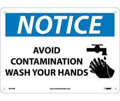 Notice, AVOID CONTAMINATION WASH YOUR HANDS, GRAPHIC, 10X14, .040 Aluminum