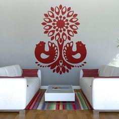 Folkowa naklejka ścienna/szablon Kurki. Polish design, Polish folk design, polski dizajn, polskie wzornictwo, made in Poland Pinned by #AdrianWerner
