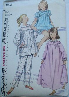 Girl's Pajamas Bloomers and Nightgown Sewing by Shelleyville