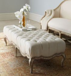 I love,love this ottoman . Milania Tufted Ottoman/Bench at Neiman Marcus. Ottoman Stool, Tufted Bench, Upholstered Ottoman, Tufted Ottoman Coffee Table, Bedroom Ottoman, Oval Ottoman, White Ottoman, Padded Bench, Painted Furniture