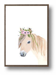 Ponis de acuarela pinturas de animales decoración por zuhalkanar