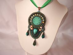 Bead embroidery pendant with polimer clay cabochons by Beabead, Ft15000.00