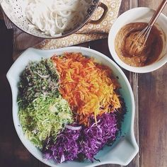 Peanut Sesame Slaw With Brussels Sprouts, Carrots And Cabbage