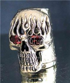 "For that Biker-Quilter who has everything:  BIKER THIMBLE "" BURNING SKULL w. RED EYES "" collectors"