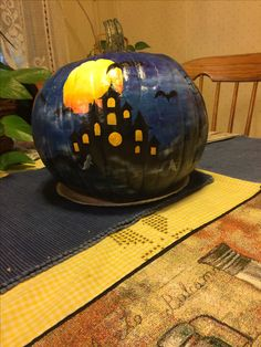 My version of haunted house. Painted by Paulette Halloween Pumpkin Carving Stencils, Amazing Pumpkin Carving, Pumpkin Carvings, Pumpkin Painting, Halloween Date, Halloween Food Crafts, Diy Halloween Decorations, Baby Halloween, Pumpkin Contest