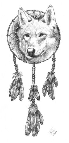 Animal Coloring Pages Dream Catchers   Dreamcatcher Wolfquot By Joel Thongbai