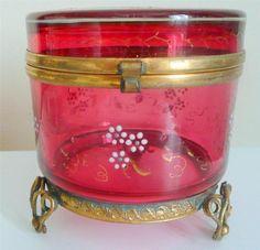 Antique 19thC Large French Enamelled Cranberry Glass Ormolu Dresser Vanity Box | eBay