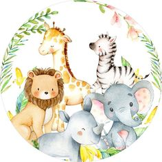 Safari Theme, Jungle Theme, Baby Applique, Cute Animal Illustration, Baby Shower Invitaciones, Cute Frames, Girl Birthday Themes, Baby Drawing, Baby Images